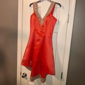 Rachel Allan orange/turquoise dress